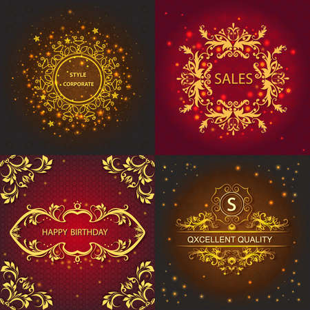 identidad cultural: Set cards with pattern, floral design, greeting cards decorated shiny lights. Vector Illustration Vectores