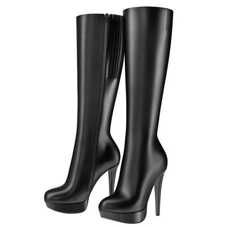 clasp feet: Black womens boots leather with zipper. 3D graphic