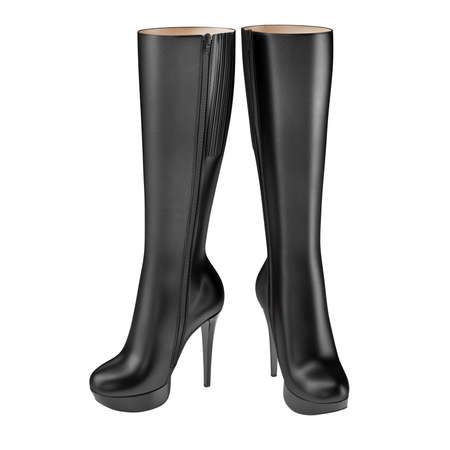 clasp feet: Exclusive womens boots black leather high-heeled. 3D graphic Stock Photo