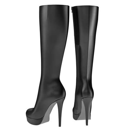 clasp feet: High boots womens leather black high heel. 3D graphic Stock Photo
