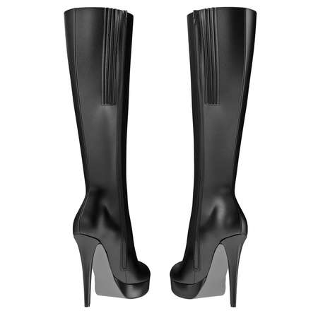 clasp feet: High boots womens leather black high heel, back view. 3D graphic Stock Photo