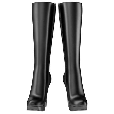 clasp feet: High boots womens leather black high heel, front view. 3D graphic Stock Photo