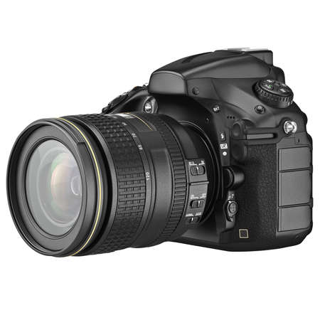 slr: Digital SLR photo camera professional. 3D graphic Stock Photo
