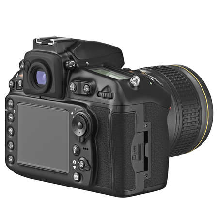 lcd display: Black photo camera with large LCD display. 3D graphic