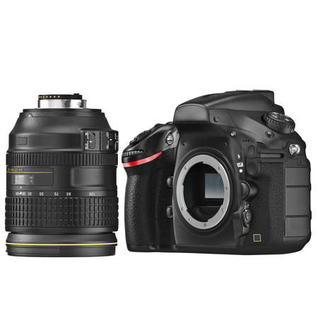 disassembly: DSLR camera with optical lens disassembly. 3D graphic Stock Photo