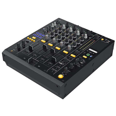 parameters: Digital dj mixer music with buttons control table parameters. 3D graphic