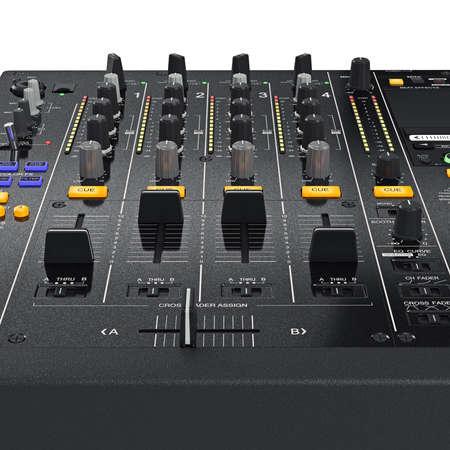 regulators: Regulators change sound settings control panel of black professional dj mixers, zoomed view. 3D graphic