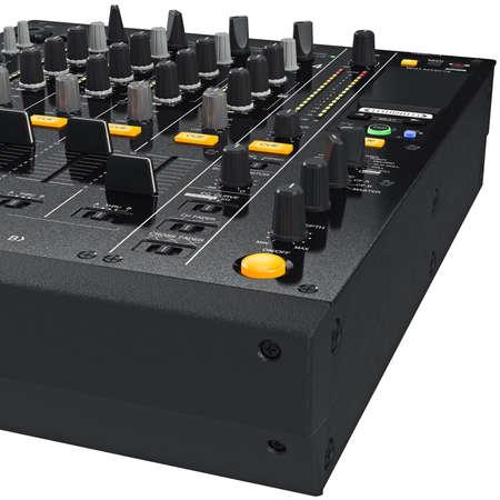 regulators: Dj mixer control table panel with regulators and lamps, close view. 3D graphic