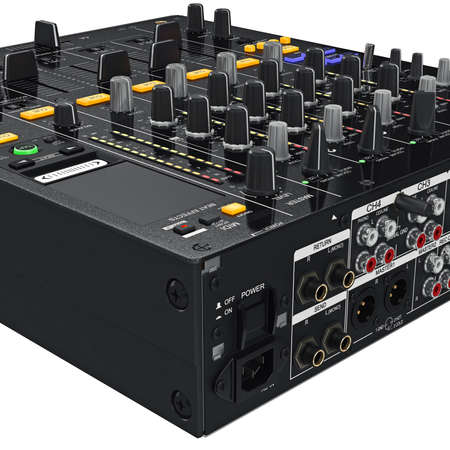 zoomed: Back mixer control table panel black professional, zoomed view. 3D graphic