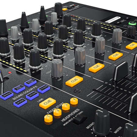 zoomed: Music dj mixer with controls change sound settings, zoomed view. 3D graphic