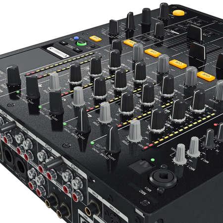 regulators: Black dj mixer control panel with the regulators, ports, light bulbs, close view. 3D graphic