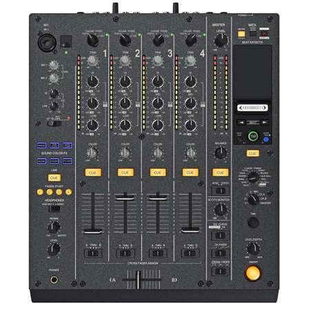 regulators: Digital dj mixer control panel with the regulators, ports, light bulbs, top view. 3D graphic