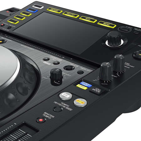 big screen: Digital dj music dance turntable and big screen mixer, close view. 3D graphic Stock Photo