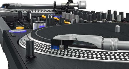 zoomed: Vinyl black needle dj turntable studio, zoomed view. 3D graphic