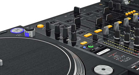 regulators: Regulators dj turntable parameters of vinyl player, close view. 3D graphic