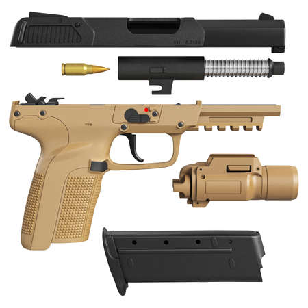 disassembled: Gun disassembled military, police with flashlight. 3D graphic