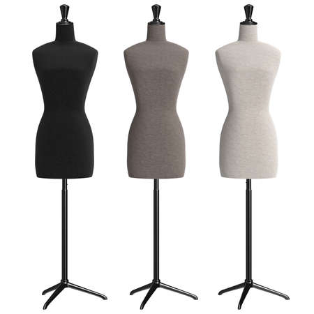 Female mannequins with stand retro style, front view. 3D graphic Stock Photo