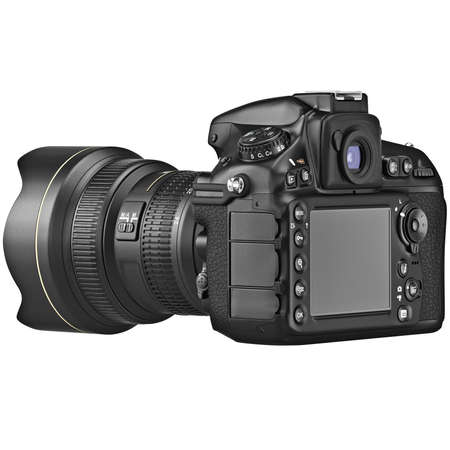 lcd display: Camera with large LCD display with zoom lens. 3D graphic