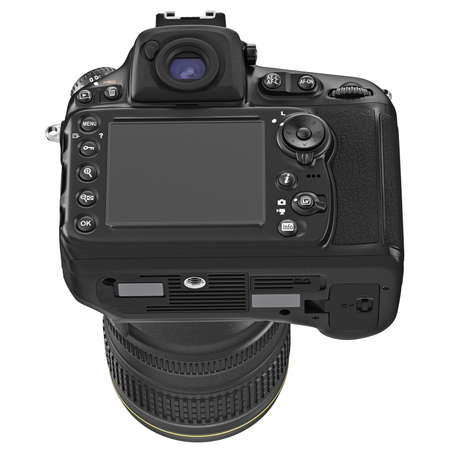 lcd display: Digital camera with large LCD display, back view. 3D graphic Stock Photo