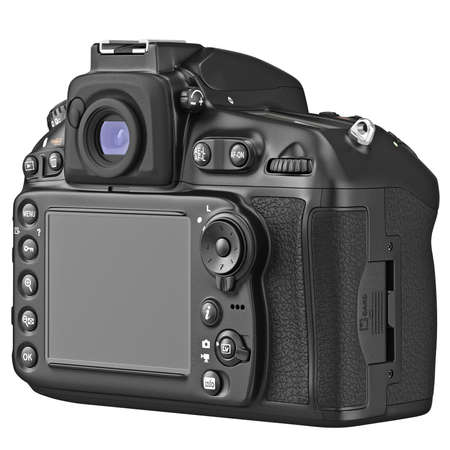 lcd display: DSLR photo camera with large LCD display, back view. 3D graphic