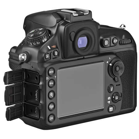digicam: Camera with large LCD display, lids open. 3D graphic Stock Photo