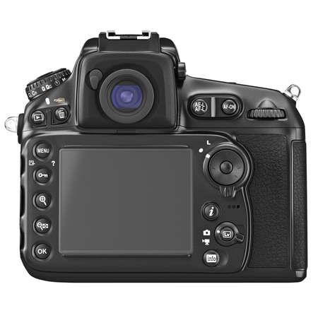 lcd display: DSLR camera with large LCD display, back view. 3D graphic