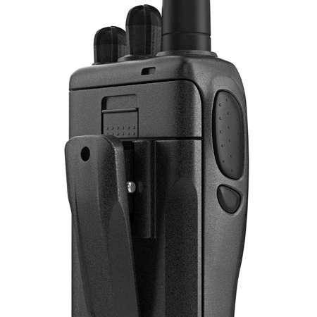 regulators: Portable mobile radio black color, close view. 3D graphic