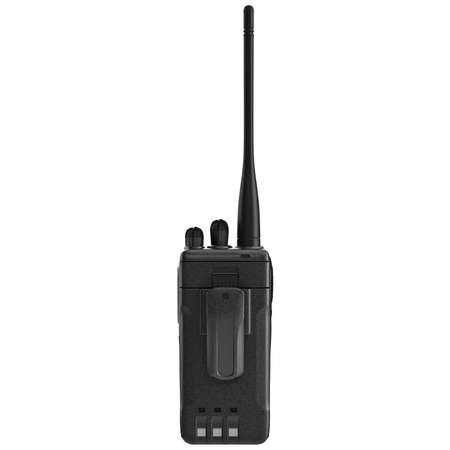 regulators: Portable mobile radio with antenna, back view. 3D graphic