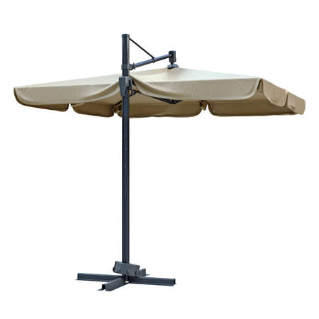 sun protection: Open beach umbrella for sun protection. 3D graphic