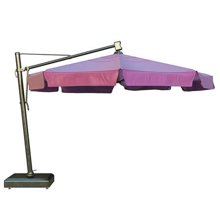 flaxen: Beach umbrella for relax, side view. 3D graphic