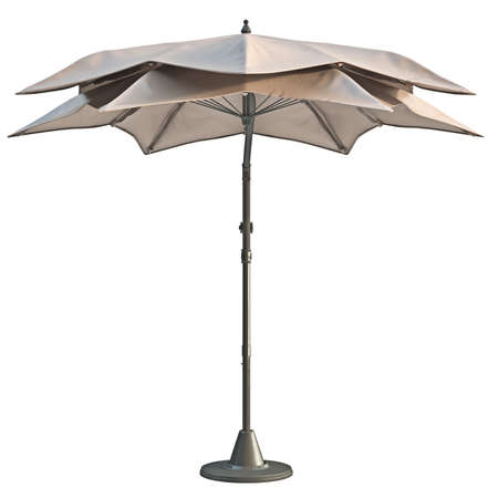 sun protection: Modern beach umbrella, sun protection, front view. 3D graphic