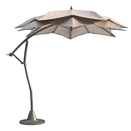 sun protection: Patio beach umbrella, sun protection, side view. 3D graphic