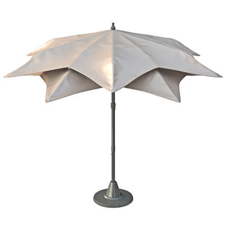 sun protection: Beach umbrella sun protection, back view. 3D graphic
