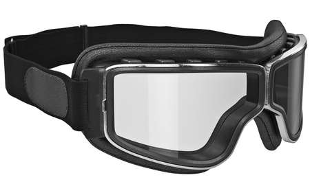 inserts: Black leather retro goggles with chrome inserts. 3D graphic Stock Photo