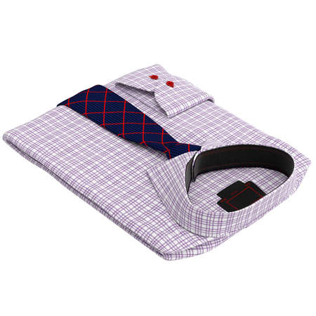 drycleaning: Folded classic mens shirt with long ties. 3D graphic