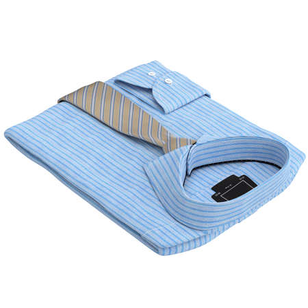 mens shirt: Folded classic mens shirt with long ties. 3D graphic