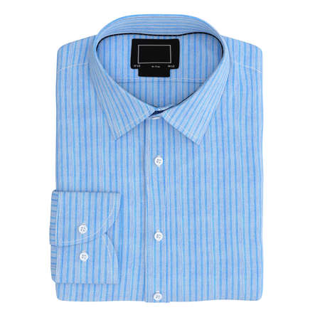 drycleaning: Mens folded stripes shirt color blue, top view. 3D graphic