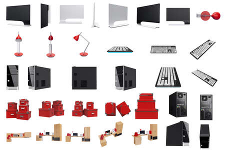 mousepad: Furniture set for working place with tech and office stuff. 3d graphic