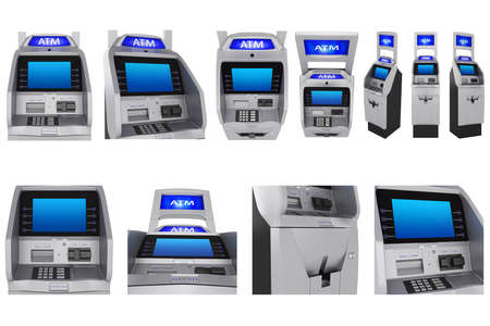 bankomat: Set ATM terminal modern style, touch screen monitor. 3D Graphic