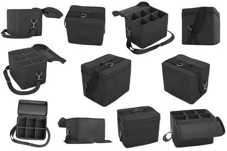 portage: Set baggage, bag car black color. 3D Graphic Stock Photo
