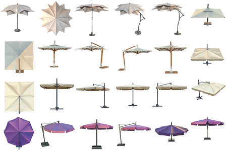 sun protection: Set beach umbrella, sun protection. 3D graphic