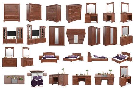 arredamento classico: Impostare mobili classici in legno, collezione. grafica 3D