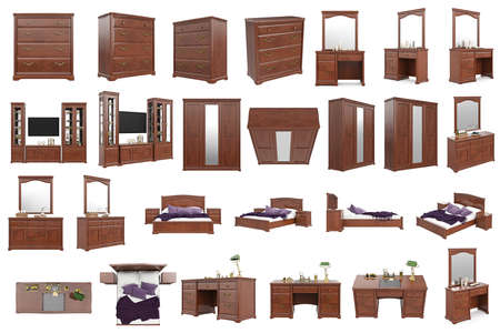 highboy: Set classic wooden furniture, collection. 3D graphic Stock Photo