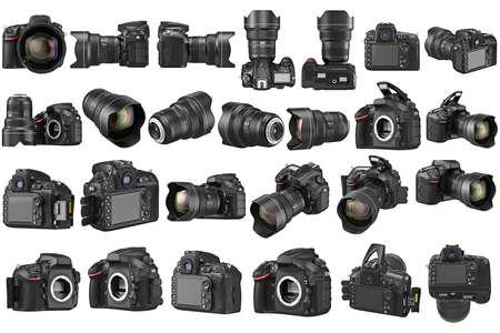デジタル デジタル一眼レフ カメラ プロ ズームのレンズを設定します。3 D グラフィック 写真素材 - 60160624