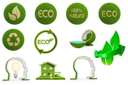 bionomics: Set eco friendly of grass. Ecology earth. 3D Graphic Stock Photo