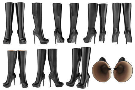 wellingtons: Set black shoes womens wellingtons leather zipper. 3D graphic