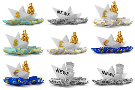 origami paper: Set paper boat isolated on white background. 3D Graphic