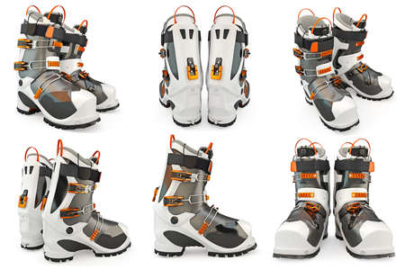 alps: Set ski boots shoes, skiing. 3D Graphic Stock Photo