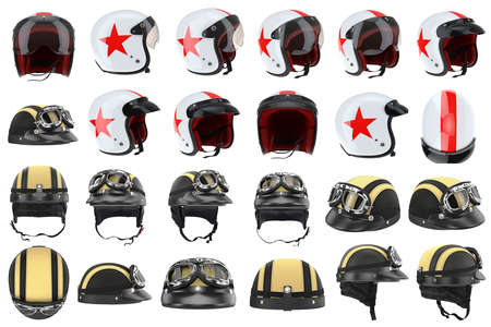 protectors: Collection motorcycle helmets protectors for sports. 3D graphic Stock Photo
