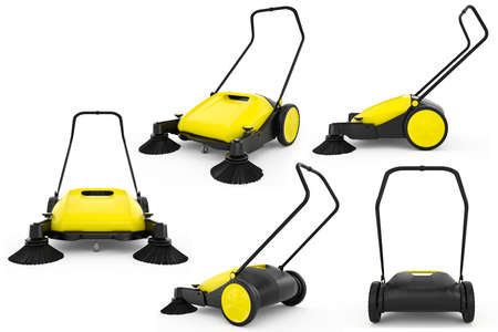 sweeper: Set sweeper harvester isolated background. 3D Graphic